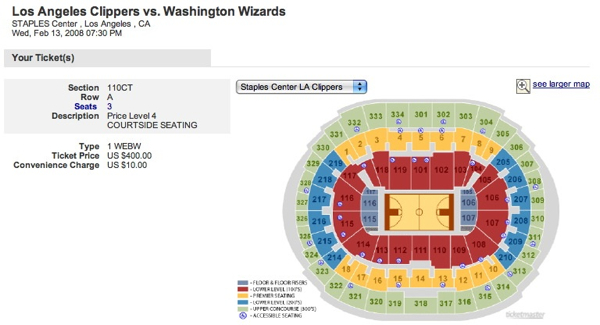 Clippers Ticketmaster Courtside